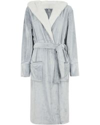 New Look Pale Grey Hooded Fluffy Dressing Gown