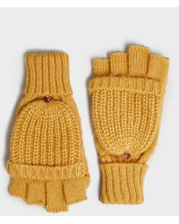 New Look Yellow Ribbed Knit Flip Top Gloves
