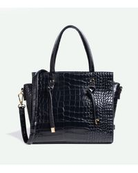 New Look Black Faux Croc Tote Bag