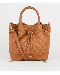 New Look Est. 1969 Tan Quilted Drawstring Tote Bag - Brown