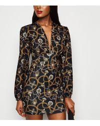 Missfiga - Black Jewel Chain Print Plunge Dress - Lyst