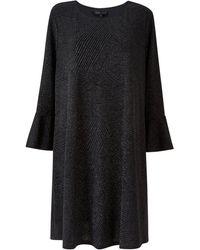 Mela Curves Black Glitter Tunic Top