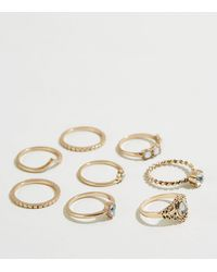 New Look 8 Pack Gold Vintage Stacking Rings - Metallic
