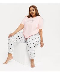 New Look - Curves Pink Girl Goals Heart Logo Jogger Pyjama Set - Lyst