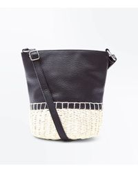 New Look Black And Cream Woven Straw Bucket Bag