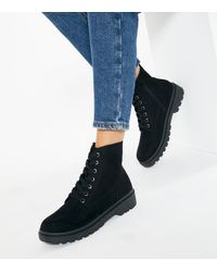 New Look Black Suedette Lace Up Chunky Biker Boots