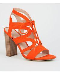 df9598e5b37 Orange Suedette Lace Up Ghillie Block Heels