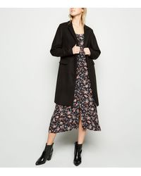 New Look Black Revere Collar Coat