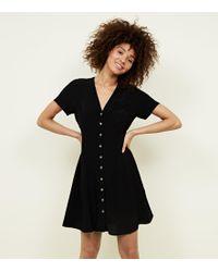 New Look - Black V Neck Button Front Tea Dress - Lyst
