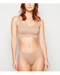 New Look - Tan Ribbed Seamless Thong - Lyst