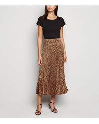 New Look Brown Leopard Print Pleated Midi Skirt