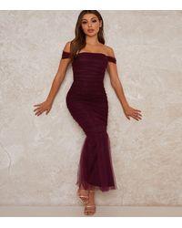 Chi Chi London Dark Purple Bardot Fishtail Midi Dress