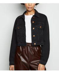 New Look Black Cropped Denim Jacket