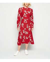 New Look Petite Red Floral High Neck Midi Dress