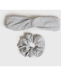 New Look 2 Pack Grey Ribbed Headband And Scrunchie