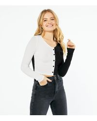 New Look Black And White Colour Block Cardigan