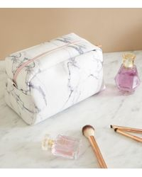New Look Off White Marble Effect Large Make Up Bag