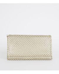 New Look Gold Diamanté Foldover Clutch Bag - Metallic