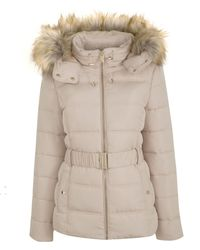 New Look Cream Faux Fur Hood Fitted Puffer Jacket - Natural