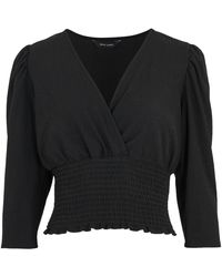 New Look Black Shirred Waist Wrap Top