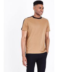 fe530696 River Island Camel Brown Tipped Muscle Fit T-shirt in Natural for ...
