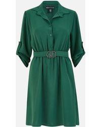 Mela Circle Buckle Belted Mini Shirt Dress New Look - Green