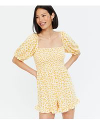New Look - Yellow Floral Square Neck Shirred Frill Playsuit - Lyst