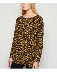 Apricot Yellow Animal Print Oversized Top