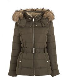 New Look Khaki Faux Fur Hood Fitted Puffer Jacket - Multicolour