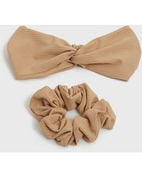 New Look 2 Pack Camel Ribbed Headband And Scrunchie - Natural