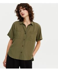 New Look Khaki Pocket Front Button Up Shirt - Green
