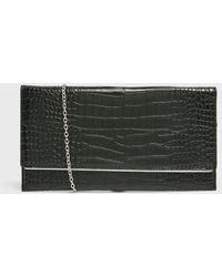 New Look Black Faux Croc Clutch Bag