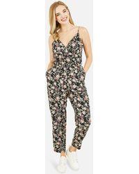 Mela Black Floral Wrap Jumpsuit New Look