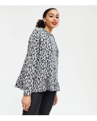 New Look - Light Grey Leopard Print Frill Fine Knit Hoodie - Lyst