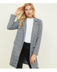 New Look - Black Prince Of Wales Check Longline Jersey Coat - Lyst