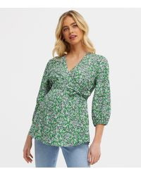 New Look Maternity Green Floral Tie Waist Top