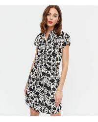 New Look Black Floral Tie Front Mini Shirt Dress
