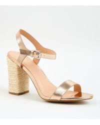 6845c9fb48f Rose Gold Leather-look Block Heel Sandals - Multicolour