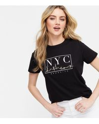New Look Black Skyline Sketch Nyc Logo T-shirt