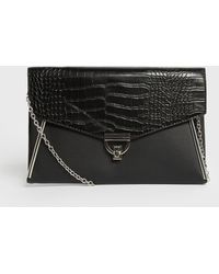 New Look Black Leather-look And Faux Croc Clutch Bag