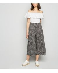 New Look Black Ditsy Floral Wide Leg Trousers