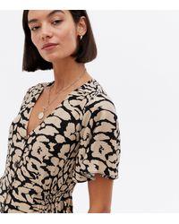 New Look Brown Leopard Print Shirred Midi Shirt Dress