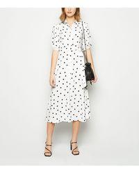 New Look White Spot Puff Sleeve Midi Shirt Dress