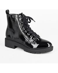 New Look Black Crinkle Patent Zip Lace Up Boots