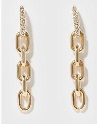 New Look Diamanté Chunky Chain Earrings - Metallic