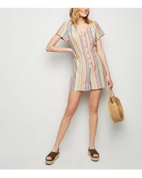 New Look Red Stripe Linen-look Button Up Playsuit - Natural