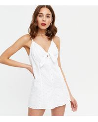 New Look White Broderie Tie Front Playsuit