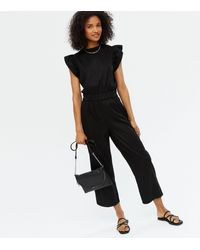 New Look Black Denim Frill Cropped Jumpsuit