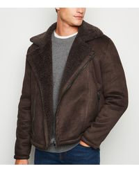 New Look Dark Brown Faux Shearling Aviator Jacket