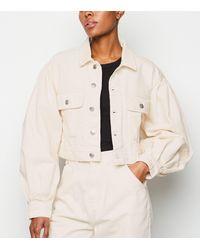 NA-KD Off White Puff Sleeve Oversized Denim Jacket